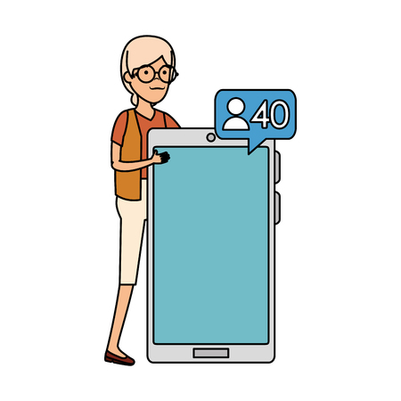 old woman with smartphone and speech bubble vector illustration design Illustration