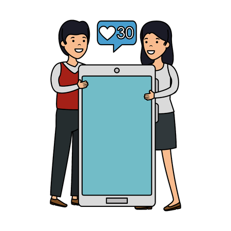 couple with smartphone and speech bubble vector illustration design