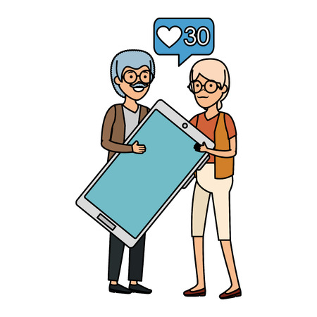 grandparents couple with smartphone and speech bubble vector illustration