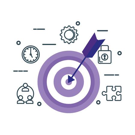 Ziel mit Pfeil und Business Icons Vector Illustration Design