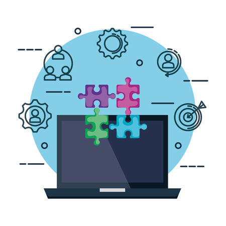 laptop with puzzle pieces and business set icons vector illustration design