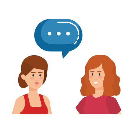 couple girls with speech bubble characters vector illustration design