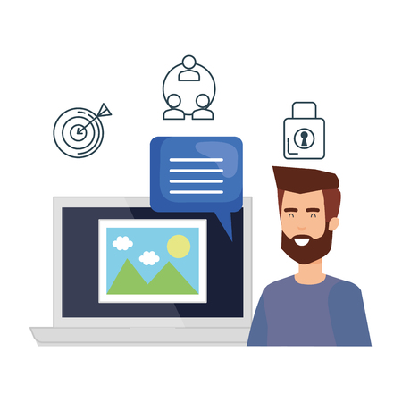 man with laptop and picture file vector illustration design