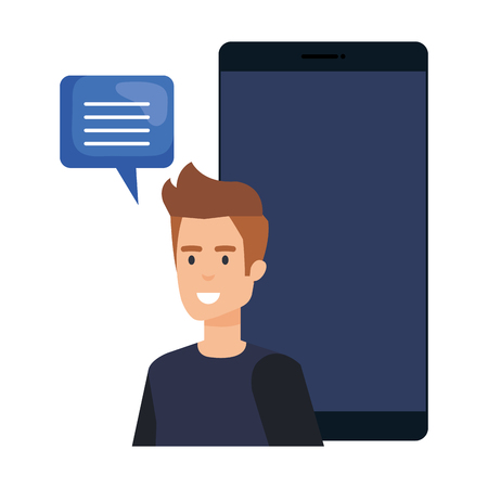 young man with smartphone and speech bubble vector illustration design Illusztráció
