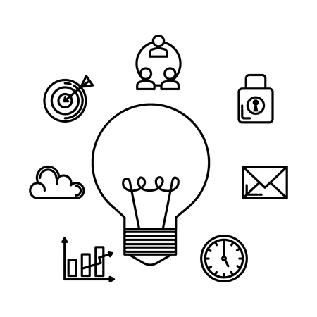 bulb with business set icons vector illustration design