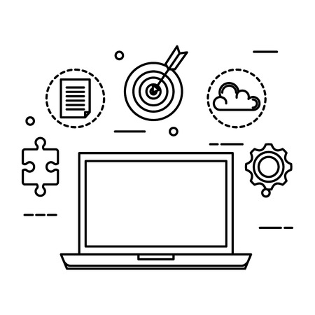 laptop with business set icons vector illustration design