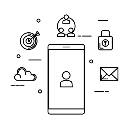 smartphone with user and set icons vector illustration design