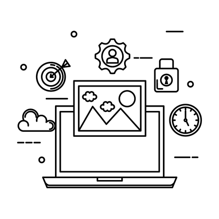 laptop with picture and business set icons vector illustration design