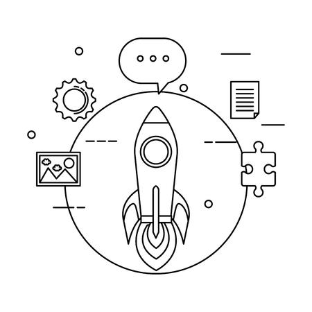 rocket launcher and business icons vector illustration design Foto de archivo - 125078475