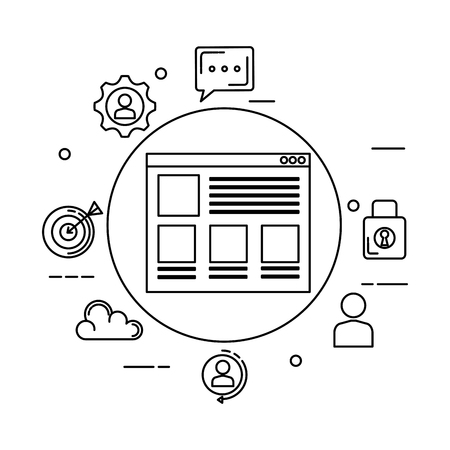 template webpage with business icons vector illustration design 向量圖像