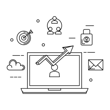 laptop with statistics arrow and business icons vector illustration design
