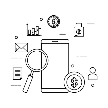 smartphone with magnifying glass and set icons vector illustration design