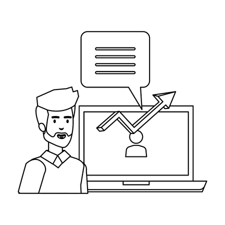 man with laptop and speech bubble vector illustration design 向量圖像