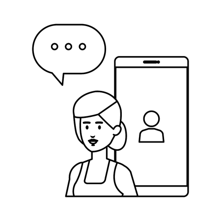 woman with smartphone and speech bubble vector illustration design Illusztráció