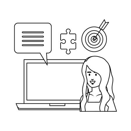 woman with laptop and business icons vector illustration design 向量圖像