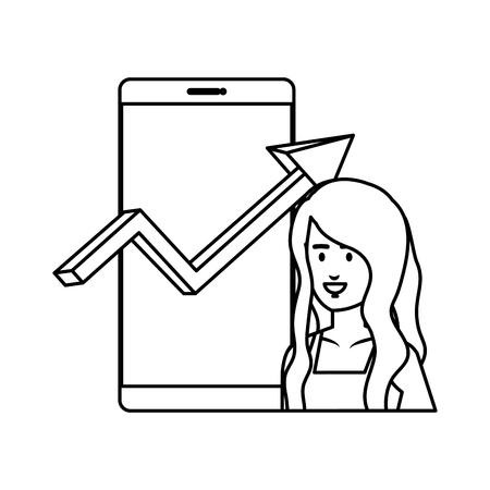 woman with smartphone and statistics arrow vector illustration design