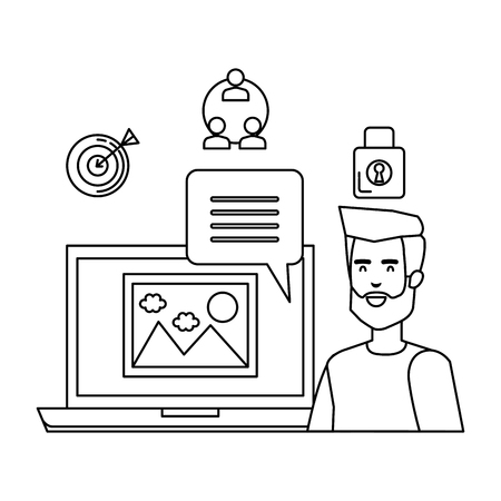 man witth laptop and business icons vector illustration design