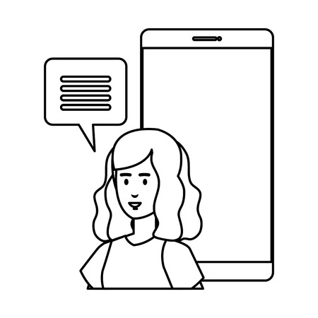 woman with smartphone and speech bubble vector illustration design Illustration