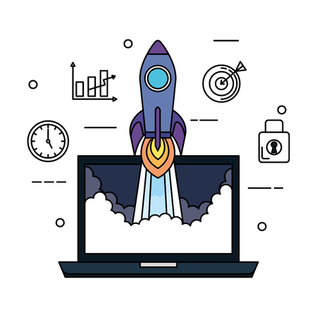 laptop with rocket and business set icons vector illustration design 向量圖像