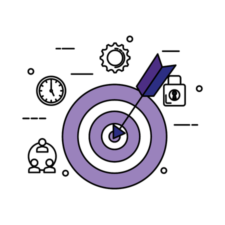target with arrow and business icons vector illustration design