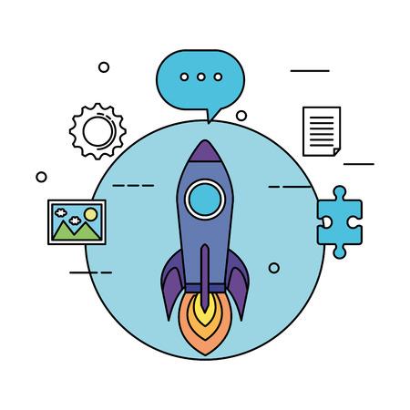 rocket launcher and business icons vector illustration design Foto de archivo - 125078517