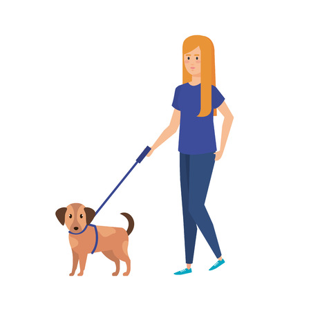 young woman walking with dog vector illustration design Stock Illustratie