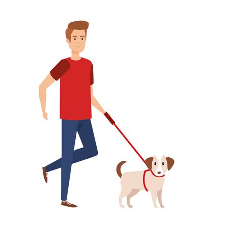 young man walking with dog vector illustration design Foto de archivo - 125078522