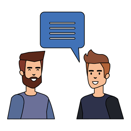 young couple men talking characters vector illustration design