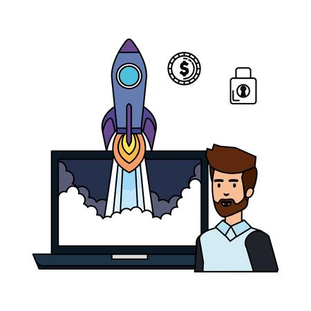 man with laptop and rocket start up vector illustration design