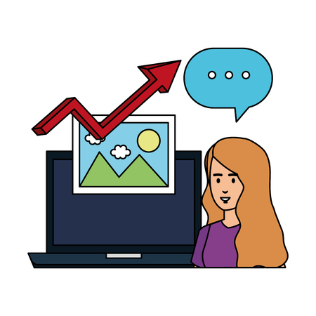 woman with laptop and statistics arrow vector illustration design 向量圖像