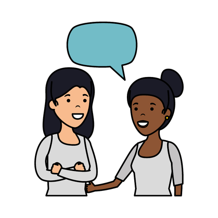 couple girls with speech bubble interracial characters vector illustration design Illustration