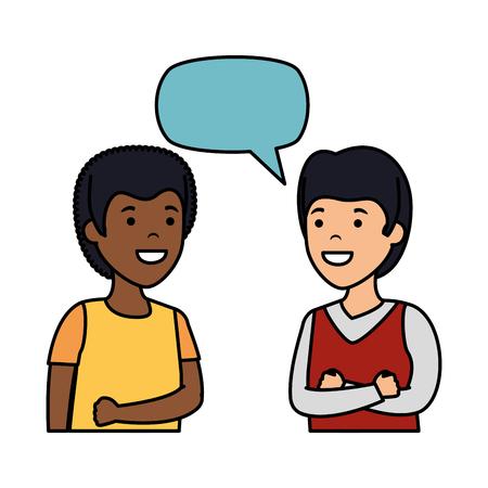 young couple men interracial speaking vector illustration design Иллюстрация