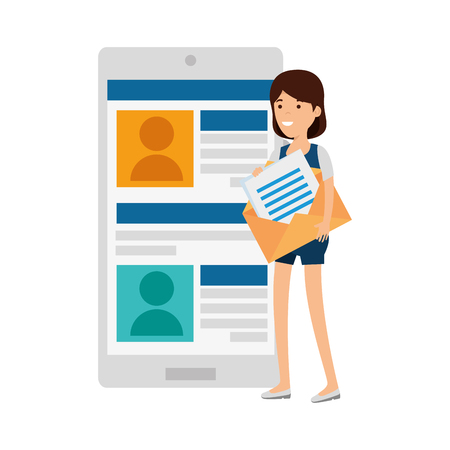 young woman with smartphone and envelope vector illustration design
