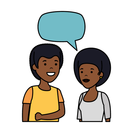 young black couple with speech bubble characters vector illustration design