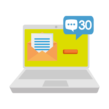 laptop with envelope and speech bubble vector illustration design