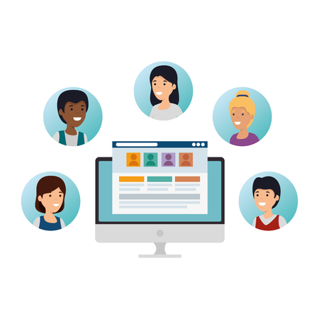 group of people with desktop social media vector illustration design Çizim