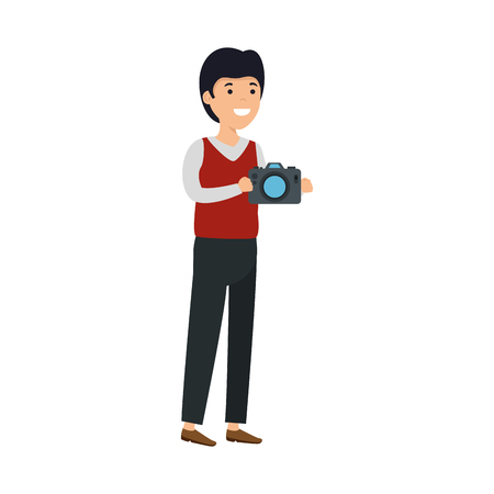young man with camera photographic vector illustration design