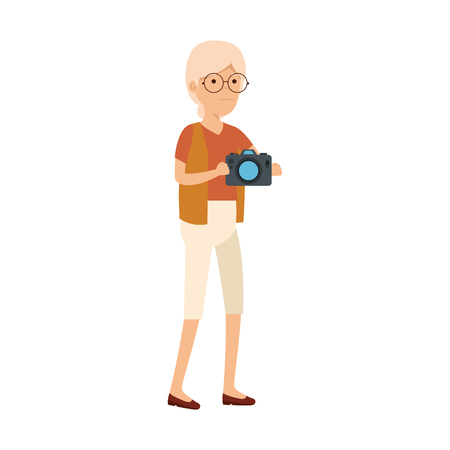 old woman with camera photographic vector illustration design