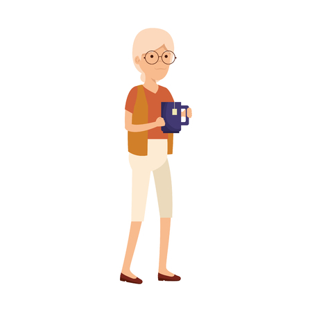 old woman with teacup vector illustration design Illustration