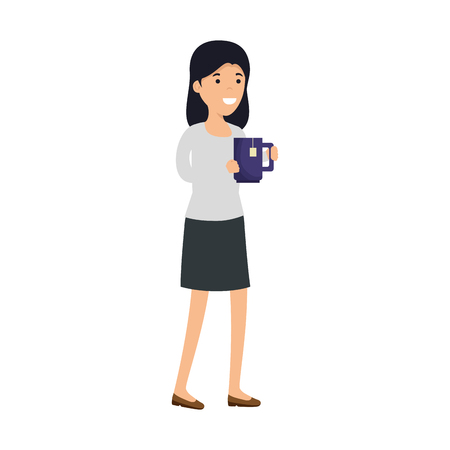 young woman with coffee cup character vector illustration design