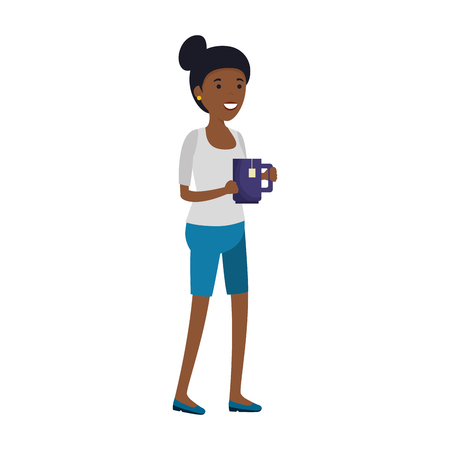 young black woman with tea cup vector illustration design Illustration