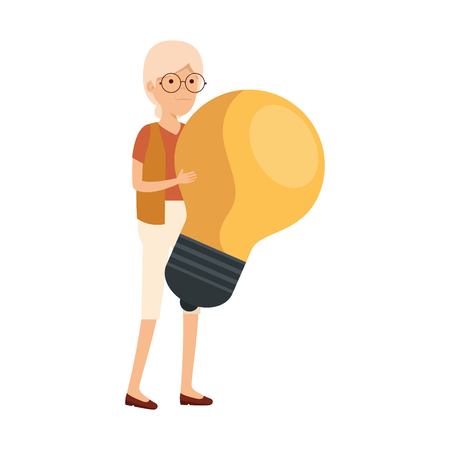 old woman with bulb vector illustration design