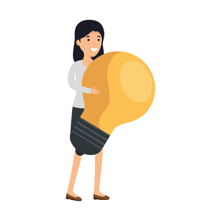young woman with bulb character vector illustration design
