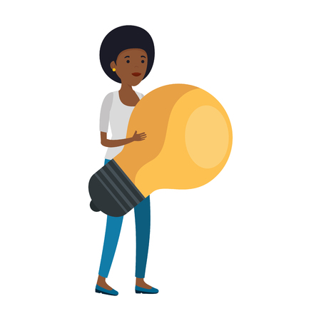 young black woman with bulb vector illustration design Stock Illustratie