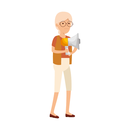 old woman with megaphone vector illustration design