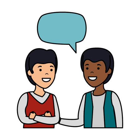 young couple men interracial speaking vector illustration design Stock Vector - 125078629
