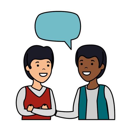 young couple men interracial speaking vector illustration design Çizim