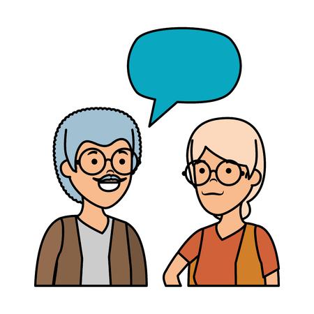 cute grandparents couple with speech bubble vector illustration design Banque d'images - 125078631