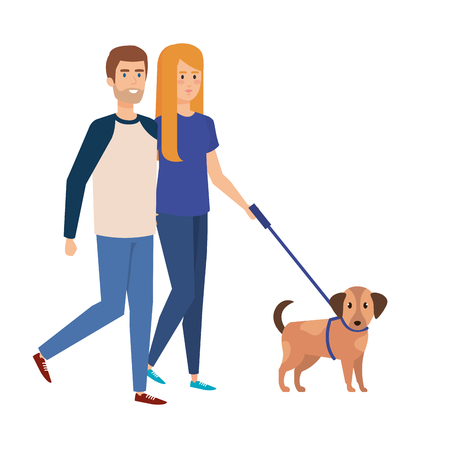 lovers couple walking with dog vector illustration design