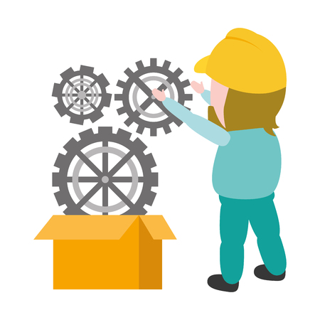 worker put gears on box mobile app development vector illustration 版權商用圖片 - 117661103